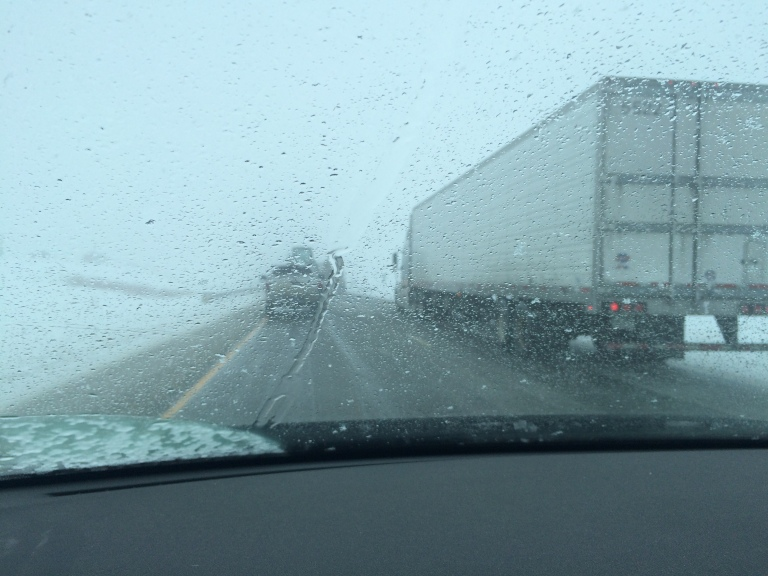 A snow storm rolled in and past as we sat in this line of traffic for two hours.  Wyoming, I did not enjoy this.